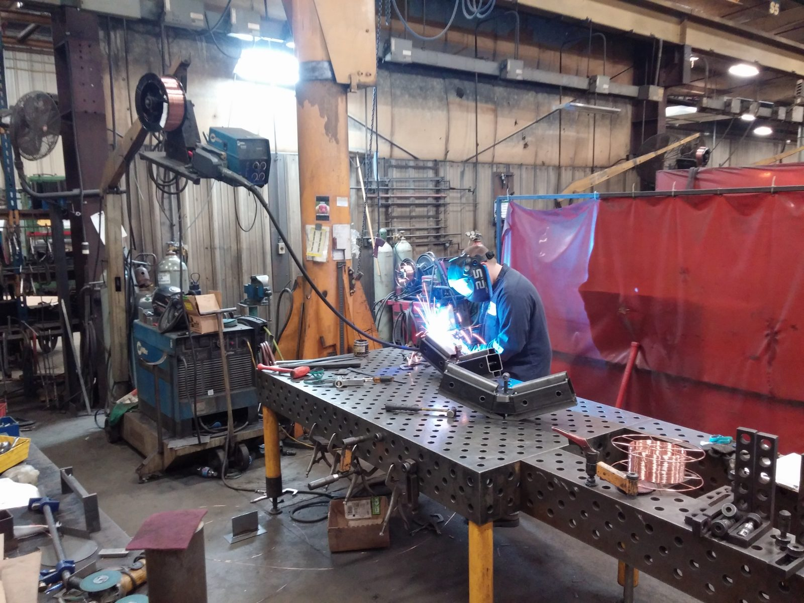 Welding a metal part for fabrication