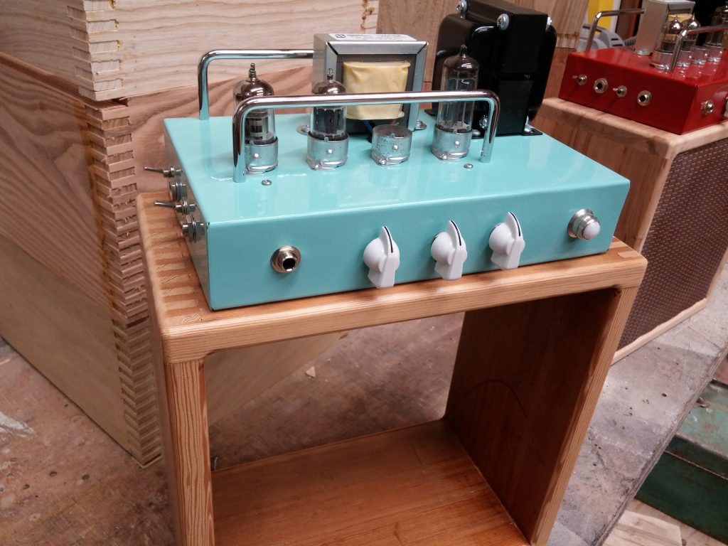 Turquoise Audity One guitar amp by Curious Audio